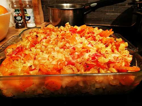 Gratin de macaronis aux petits légumes notrebonnefranquette